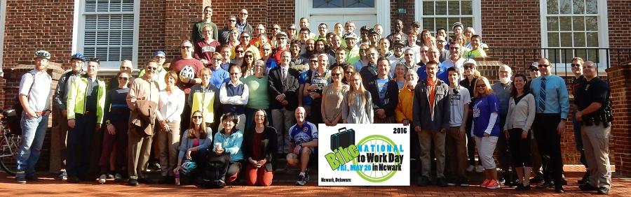 group photo at 2016 Bike to Work Day event