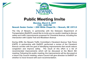 public meeting notice from the City of Newark