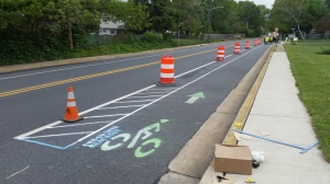 photo of pop-up demonstration buffered bike lane