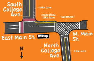 diagram of intersection with contraflow lane