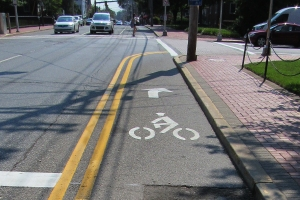 photo of contraflow lane