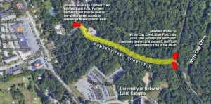diagram on satellite photo showing proposed trail connector