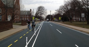 artists rendering of potential Delaware Avenue two-way protected bikeway