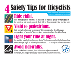 card art: 4 safety tips for bicyclists in Newark