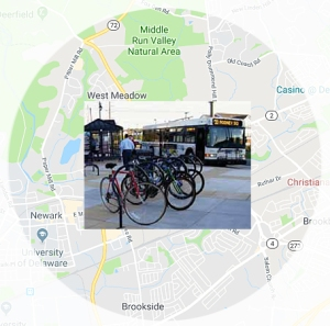 graphic showing two-mile radius from Kirkwood Hwy near Newark with overlay of bikes and bus