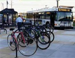 photo of bikes and bus