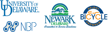 logos of UD, City of Newark, DelDOT Bicycle Program, and Newark Bike Project