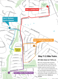 2018 B2SW Bike Trains Route map