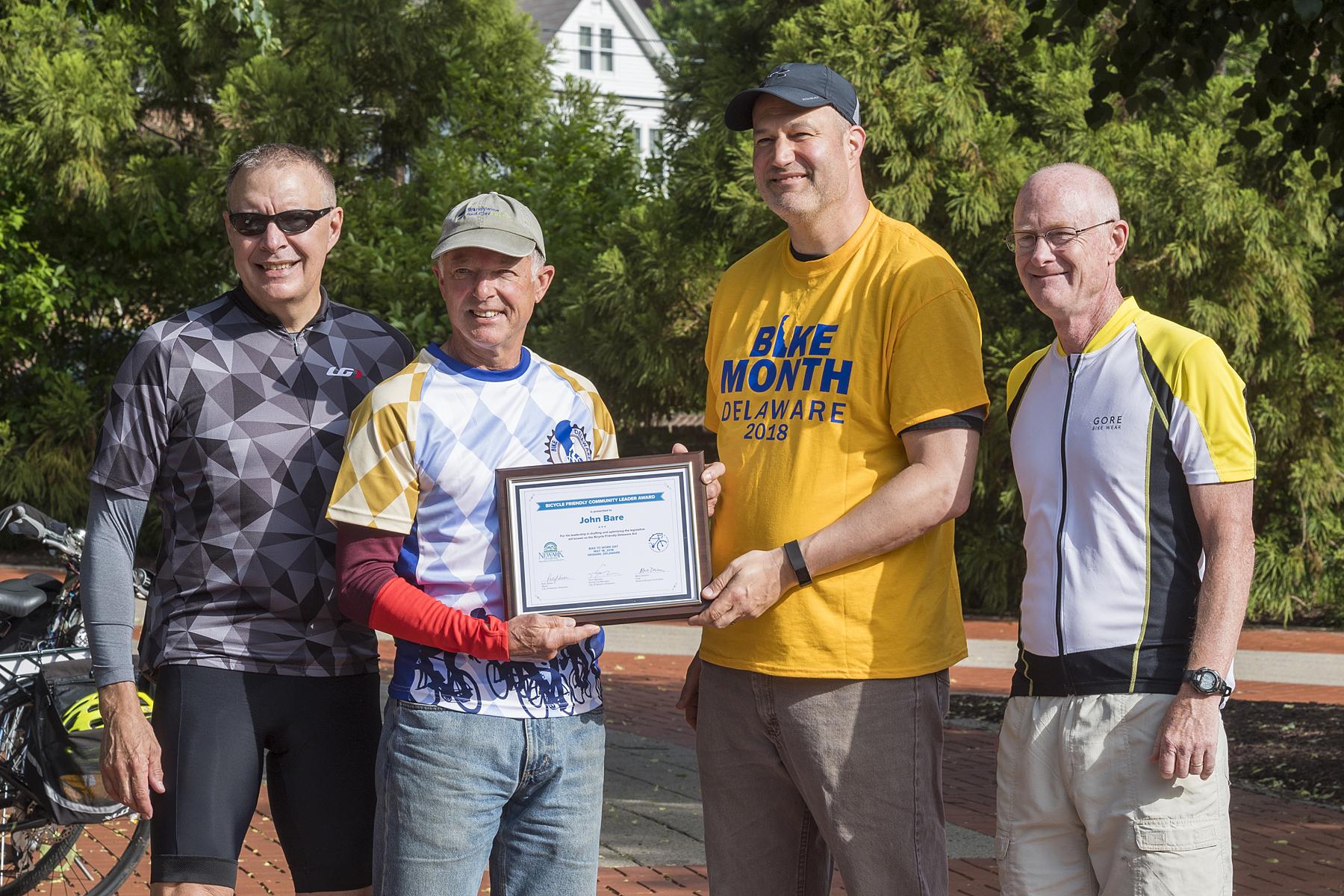 photo of Bicycle Friendly Community Leader Award presentation (photo by Kathy Atkinson, courtesy of UD)
