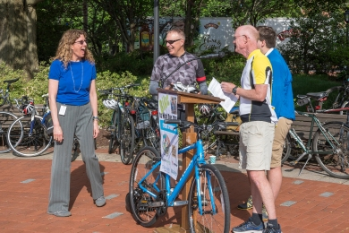 photo of bicycle giveaway winner Mary Ellen Gray (photo by Kathy Atkinson, courtesy of UD)