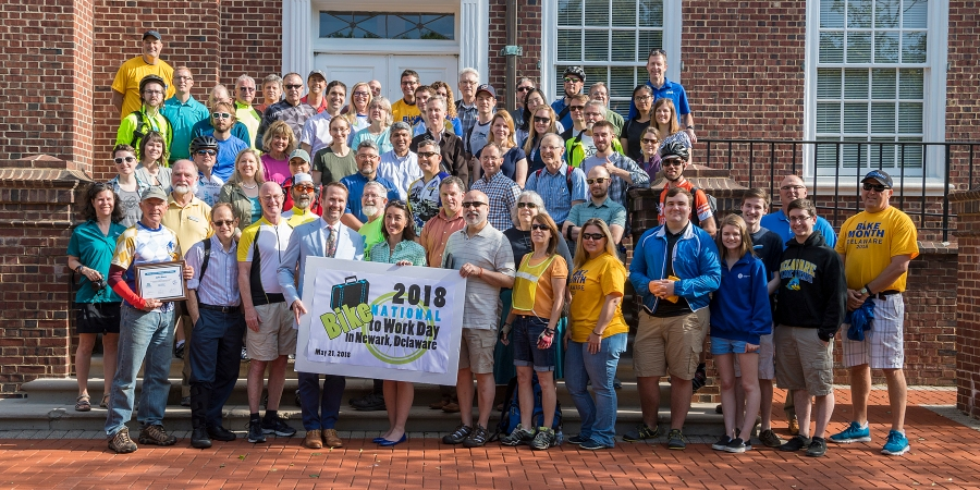 photo of 2018 Bike to Work Day participants (photo by Kathy Atkinson, courtesy of UD)
