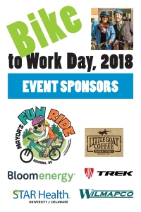 sponsors graphic - Mayor's Fun Ride, Little Goat Coffee Roasting Co., Bloom Energy, Trek Bicycle Newark, STAR Health, and WILMAPCO