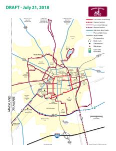 graphic of draft of bikeway map