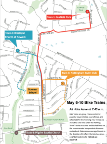 2019 B2SW Bike Trains Route map