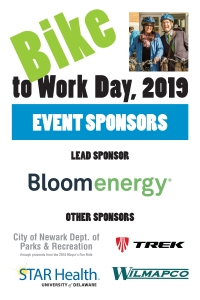 Bike to Work Day event sponsors: Bloom Energy, City of Newark Dept. of Parks & Recreation, Trek Bicycle Newark, STAR Health, and WILMAPCO