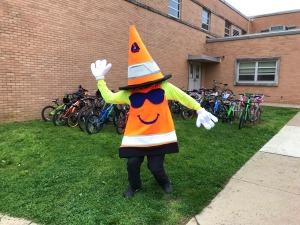 photo of DelDOT's Chip Kneavel at Bike to School Week