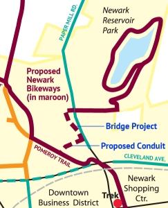 Newark Bikeways map detail showing Bridge project and proposed conduit trail