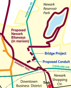 Newark Bikeways map detail showing Bridge project and proposed conduit trail