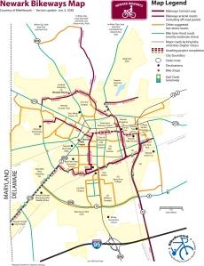 graphic of Newark Bikeways map
