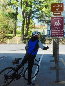 photo of bicyclist reading wayfinding signage on Hall Trail