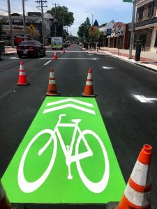 photo of newly applied greenbacked sharrow