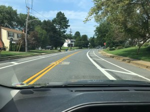 photo of motorist's view of buffered lanes on Casho Mill Road