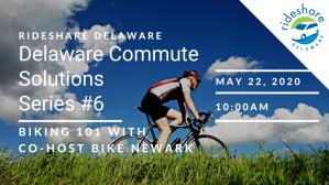 "RideShare Delaware ""Biking 101"" title slide graphic"