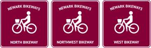 graphic of North, Northwest, and West Bikeways signs